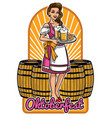 beautiful girl of oktoberfest presenting beers vector image vector image
