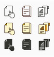 business report icons set black vector image vector image