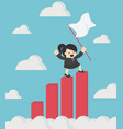 business woman holding success flag standing on vector image vector image