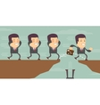 Businessman jump through the gap vector image