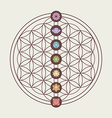 Chakra icons on sacred geometry design vector image vector image