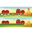 Chickens and barn in the farmyard vector image vector image