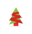 christmas tree with shadow origami design vector image