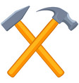 colorful cartoon tow crossed hammers vector image vector image