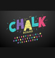colorful hand drawn chalk font vector image