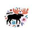 cute moose flat hand drawn vector image vector image