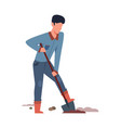 digging man in garden person in backyard vector image