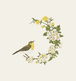 floral wreath with bird vector image