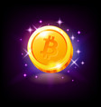 gold bitcoin coin satoshi with sparkles crypto vector image