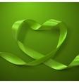 Green Ribbon Heart vector image vector image