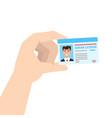 hand holding car driver license or id cadr vector image vector image