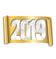 happy new year card white number 2019 silver vector image vector image