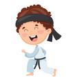 kid making karate vector image vector image