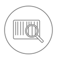 Magnifying glass and barcode line icon vector image