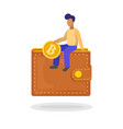 man putting a bitcoin in her wallet flat minimal vector image