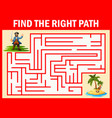 maze game find a pirates way to treasure vector image vector image