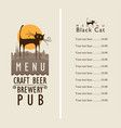 menu for beer pub with a black cat in an old town vector image vector image