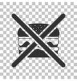 No burger sign Dark gray icon on transparent vector image vector image