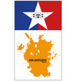 orange silhouette map san antonio with flag vector image vector image