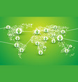 people symbol connection on green bio world map vector image vector image