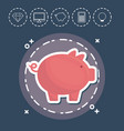 piggy bank fintech investment financial internet vector image