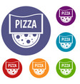 pizza badge or signboard icons set vector image vector image