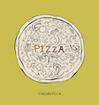 pizza on a yellow backgroundpizza fast food vector image vector image