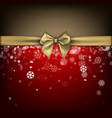 red winter background with gold bow vector image