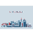 San Francisco United States city skyline flat vector image vector image
