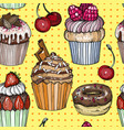 seamless pattern with cakes and cupcakes pop art vector image vector image