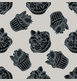 seamless pattern with hand drawn stylized cupcake vector image