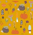 seamless pattern with mushroomhedgehogpumpkin vector image