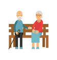 senior couple sitting on the wooden bench vector image