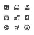 set glyph icons contact us vector image