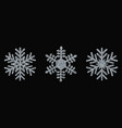 set silver snowflakes christmas design vector image vector image