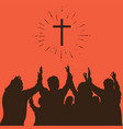 silhouette of praying people vector image vector image