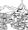 silhouettes rio de janeiro vector image