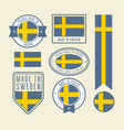 stickers tags and labels with sweden flag - badges vector image vector image