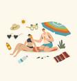 summer vacation ultraviolet rays hazard vector image