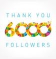 thank you 6000 followers color numbers vector image vector image