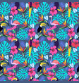 tropical plants and flowers with toucan parrot vector image vector image
