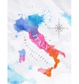 Watercolor map Italy pink blue vector image vector image