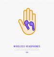 wireless earphones in hand thin line icon vector image