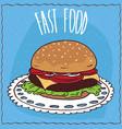 classic steak burger in handmade cartoon style vector image