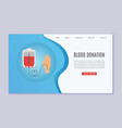 blood donation web template with donors hand and vector image