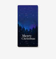 bright starry sky night pine forest happy new year vector image vector image