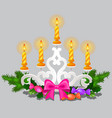 christmas sketch with burning candles in candle vector image
