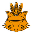 color cute fox head animal with feathers vector image vector image