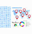 communication infographics pointers on map vector image vector image