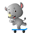 cute rhino playing skateboard vector image vector image